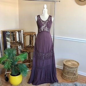 Free People Embroidered Crochet Lace Maxi Dress 2